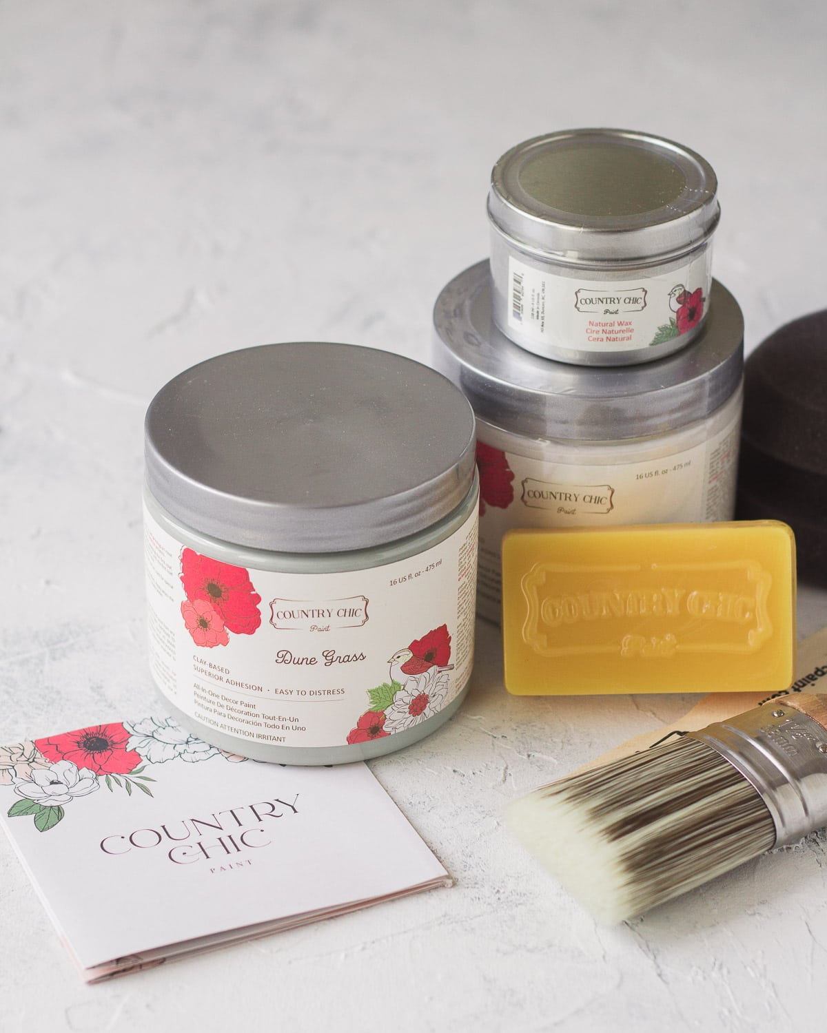A selection of paint and supplies from Country Chic Paint.