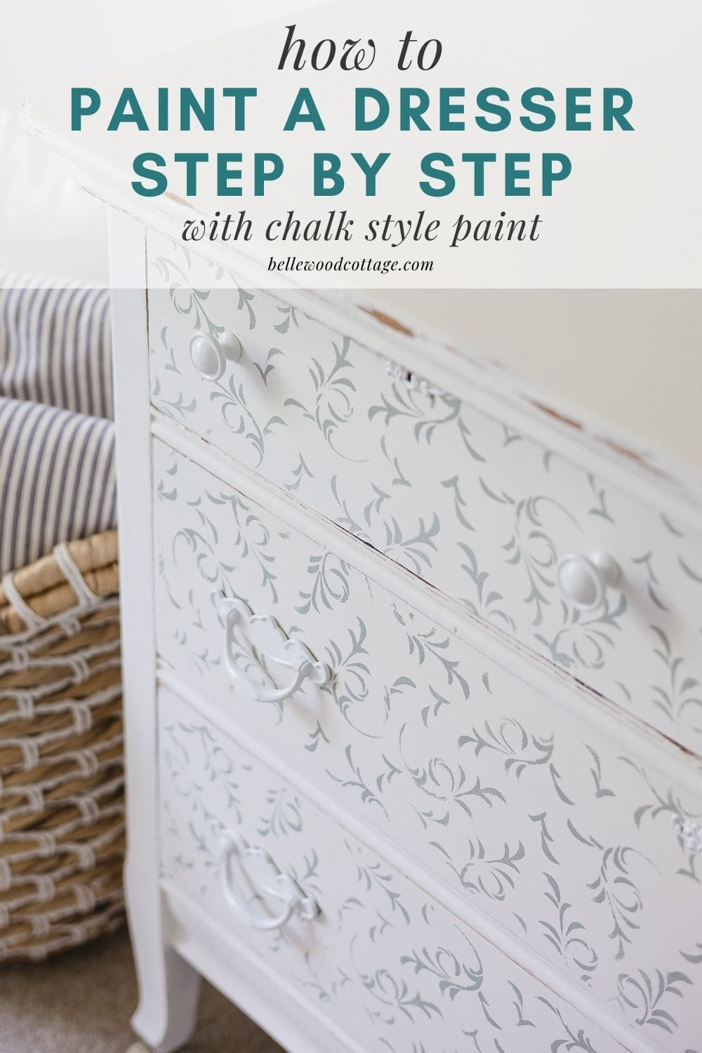 """A floral white & blue stenciled dresser with the words, """"how to paint a dresser step by step with chalk style paint""""."""