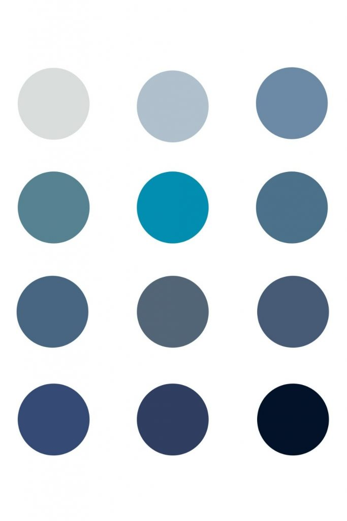A collage of blue paint swatches.
