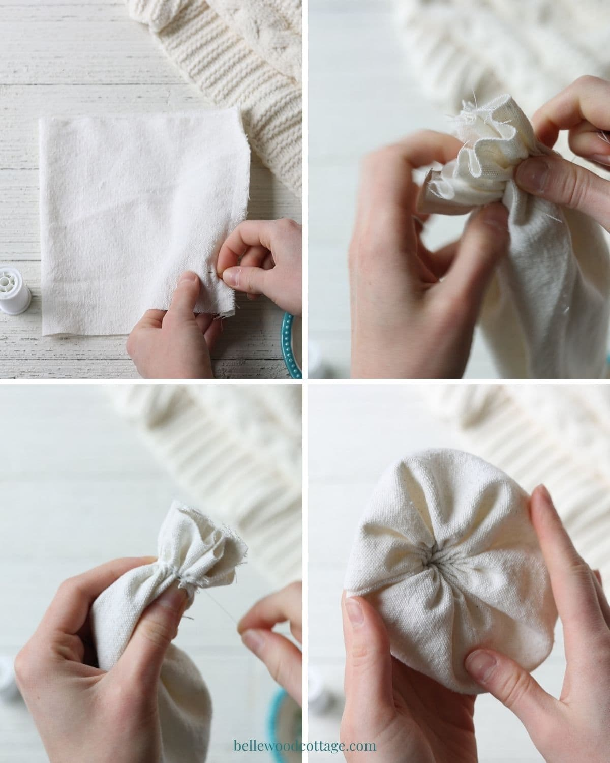 Step by step how to make drop cloth pumpkins - gathering the fabric.
