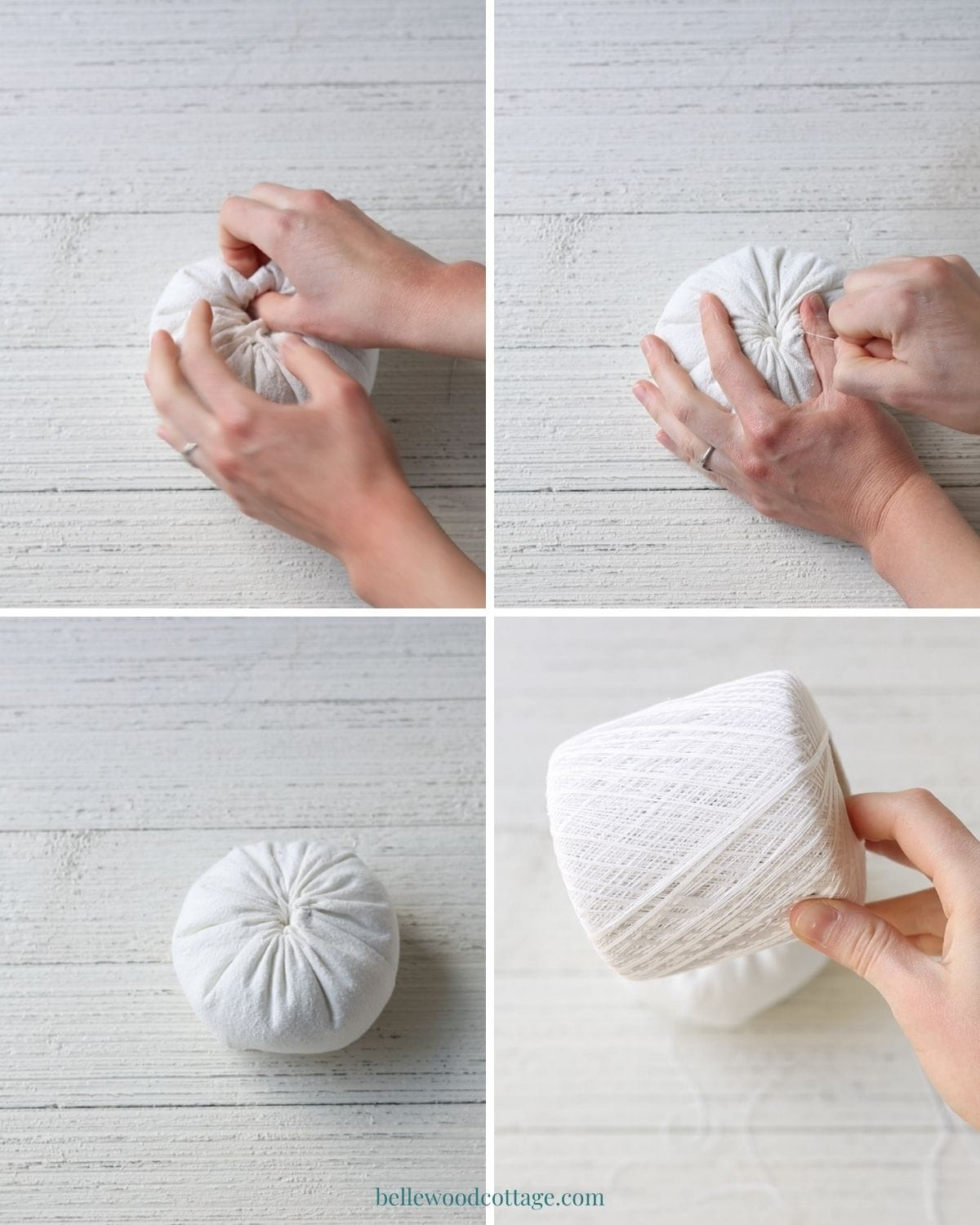 Step by step how to make drop cloth pumpkins - sewing closed the now stuffed pumpkin.