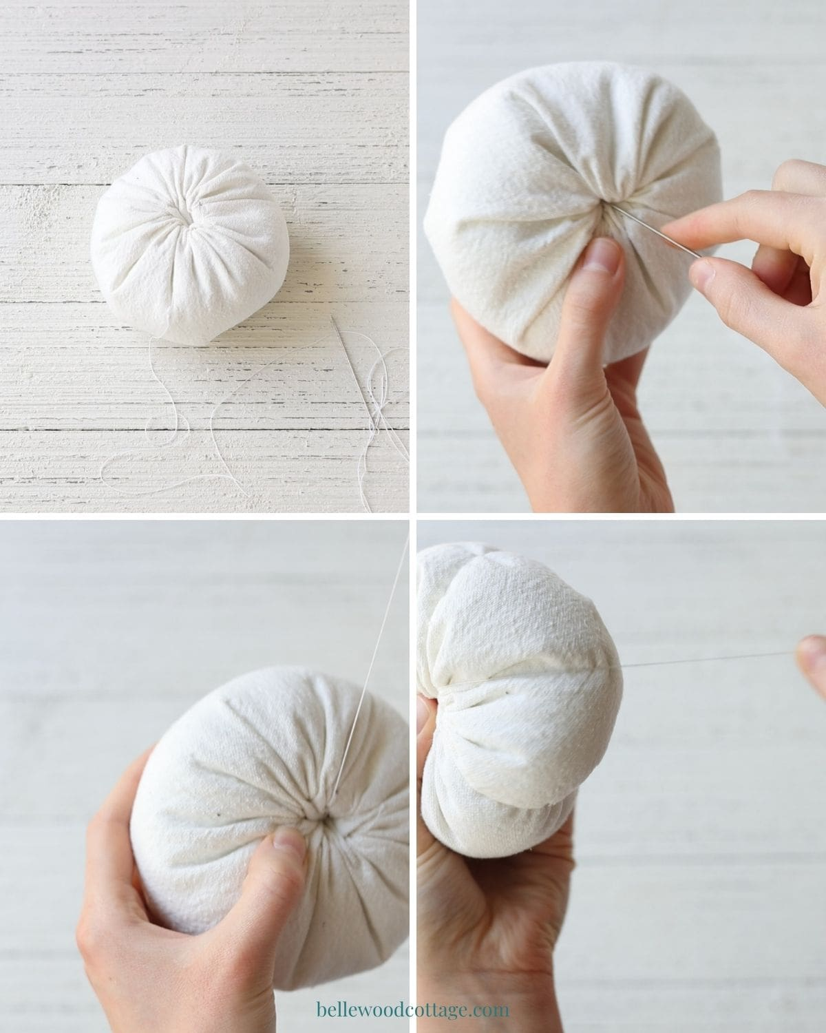 Step by step how to make drop cloth pumpkins - sewing grooves into the pumpkin.