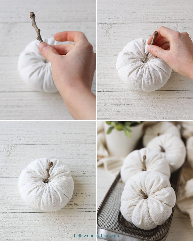 Step by step how to make drop cloth pumpkins - inserting a twig pumpkin stem.