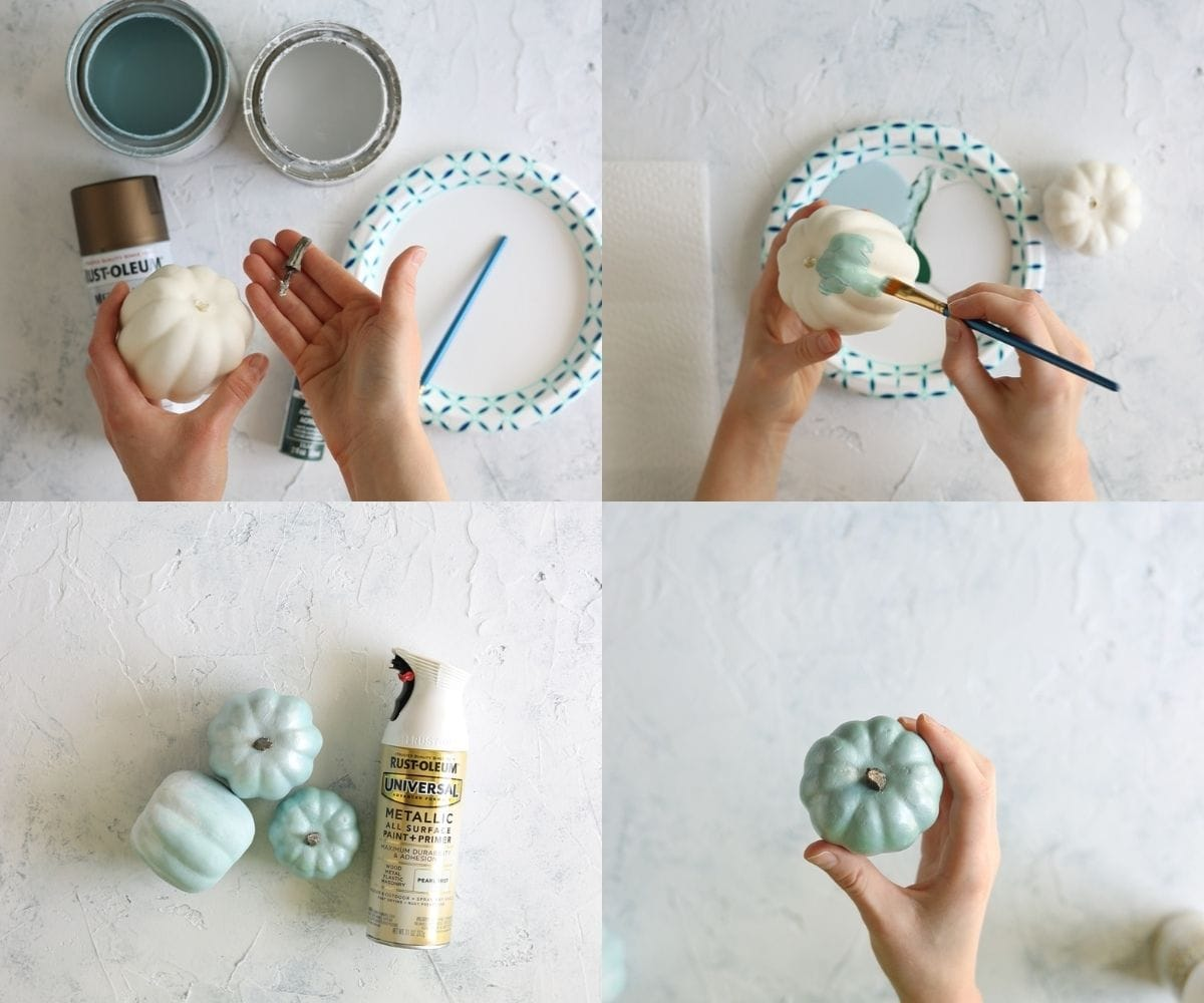 A collage of four step-by-step images of chalk painting pumpkins.