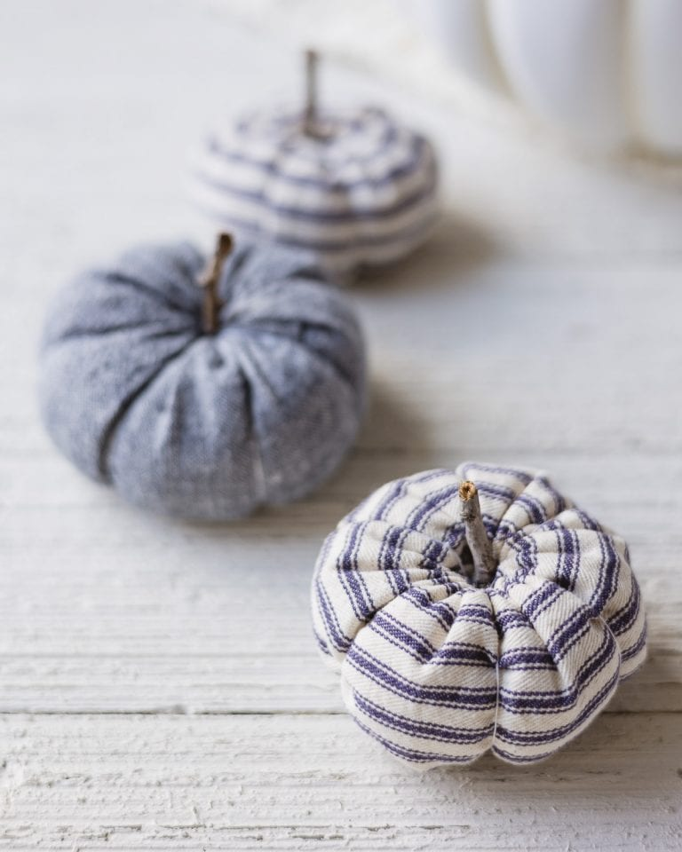 Mini DIY Ticking Stripe Pumpkins