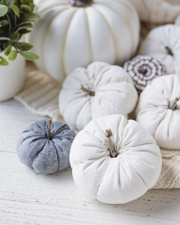 Drop cloth and linen pumpkins handmade with sticks for stems.