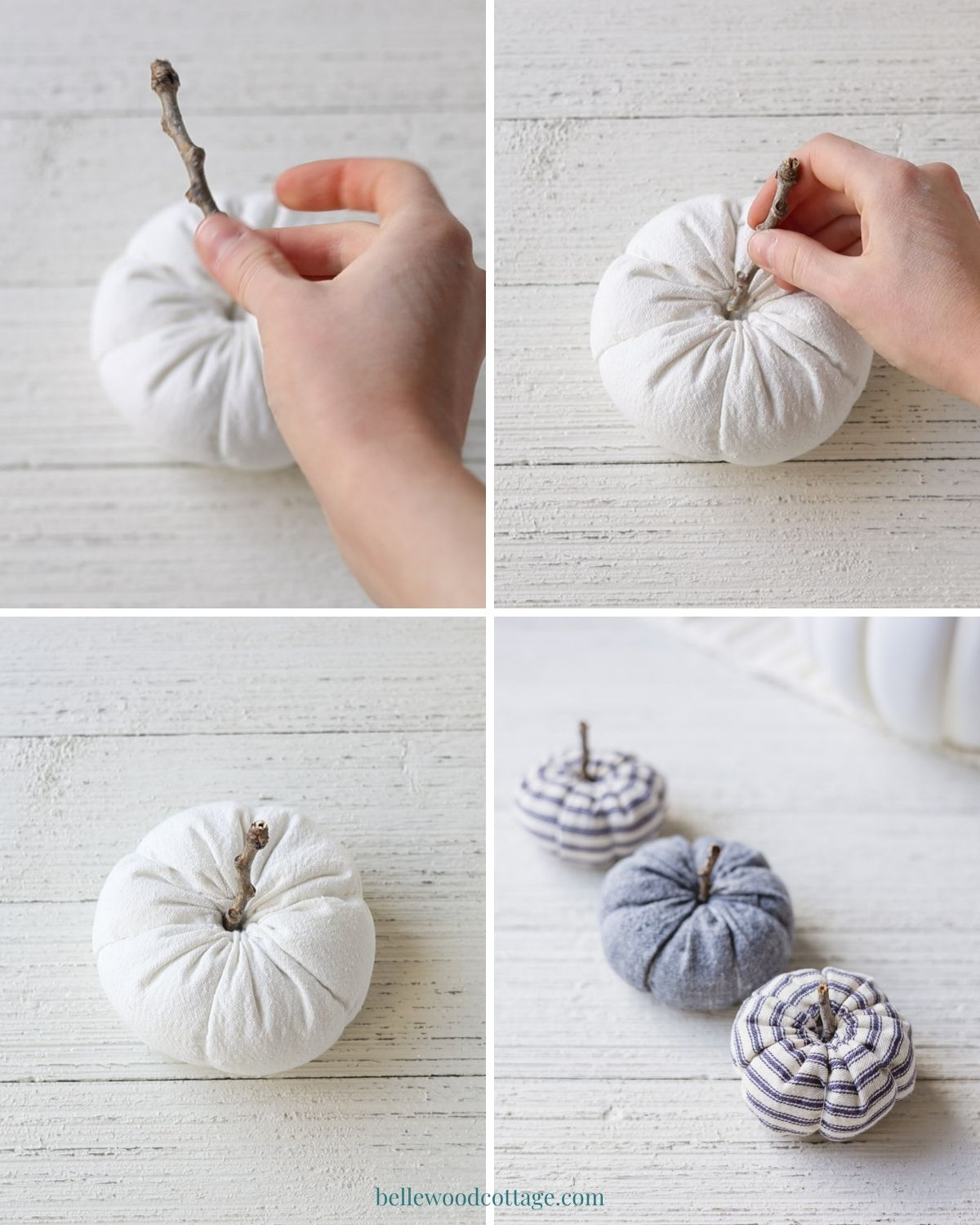 A step by step of how to make ticking stripe pumpkins.