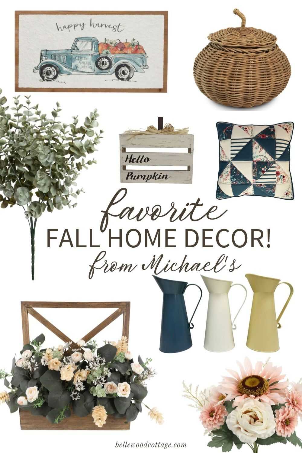 """A collage of festive home décor with the words, """"Favorite Fall Home Décor from Michael's""""."""