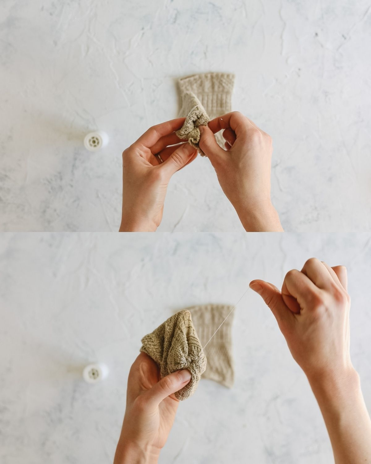 Two images showing how to sew a sock pumpkin.
