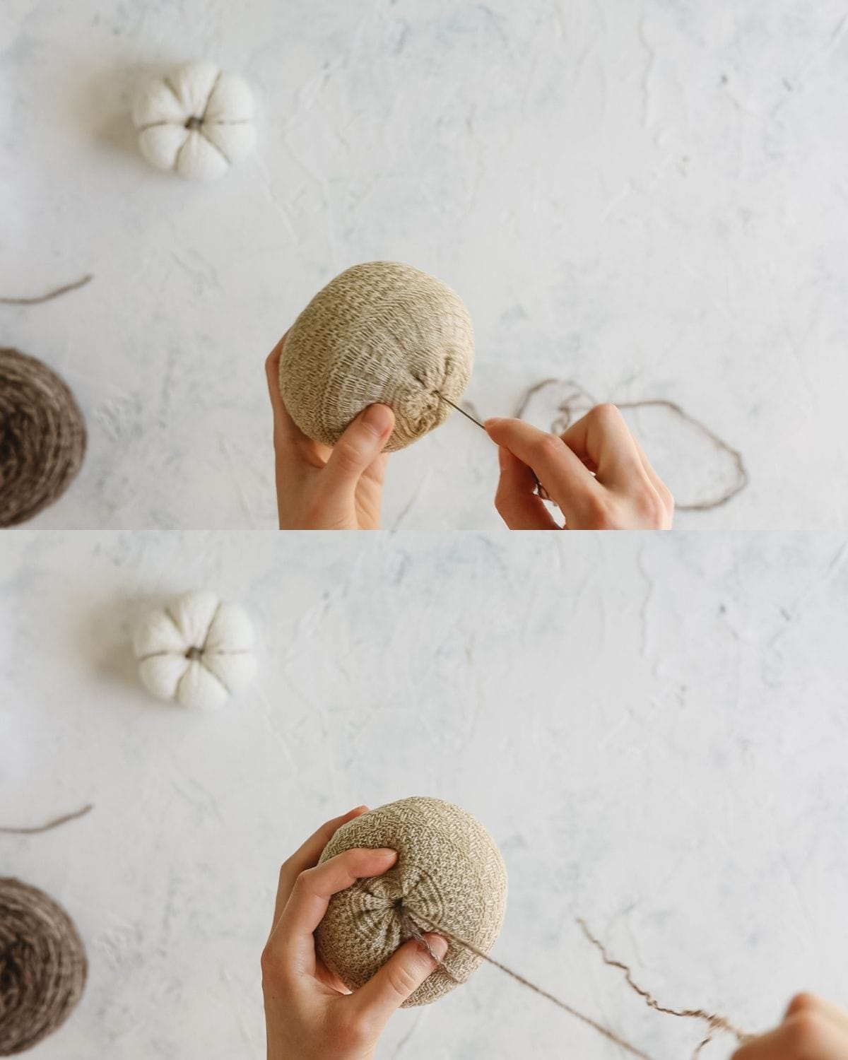 Two images showing how to sew grooves into a fabric pumpkin.