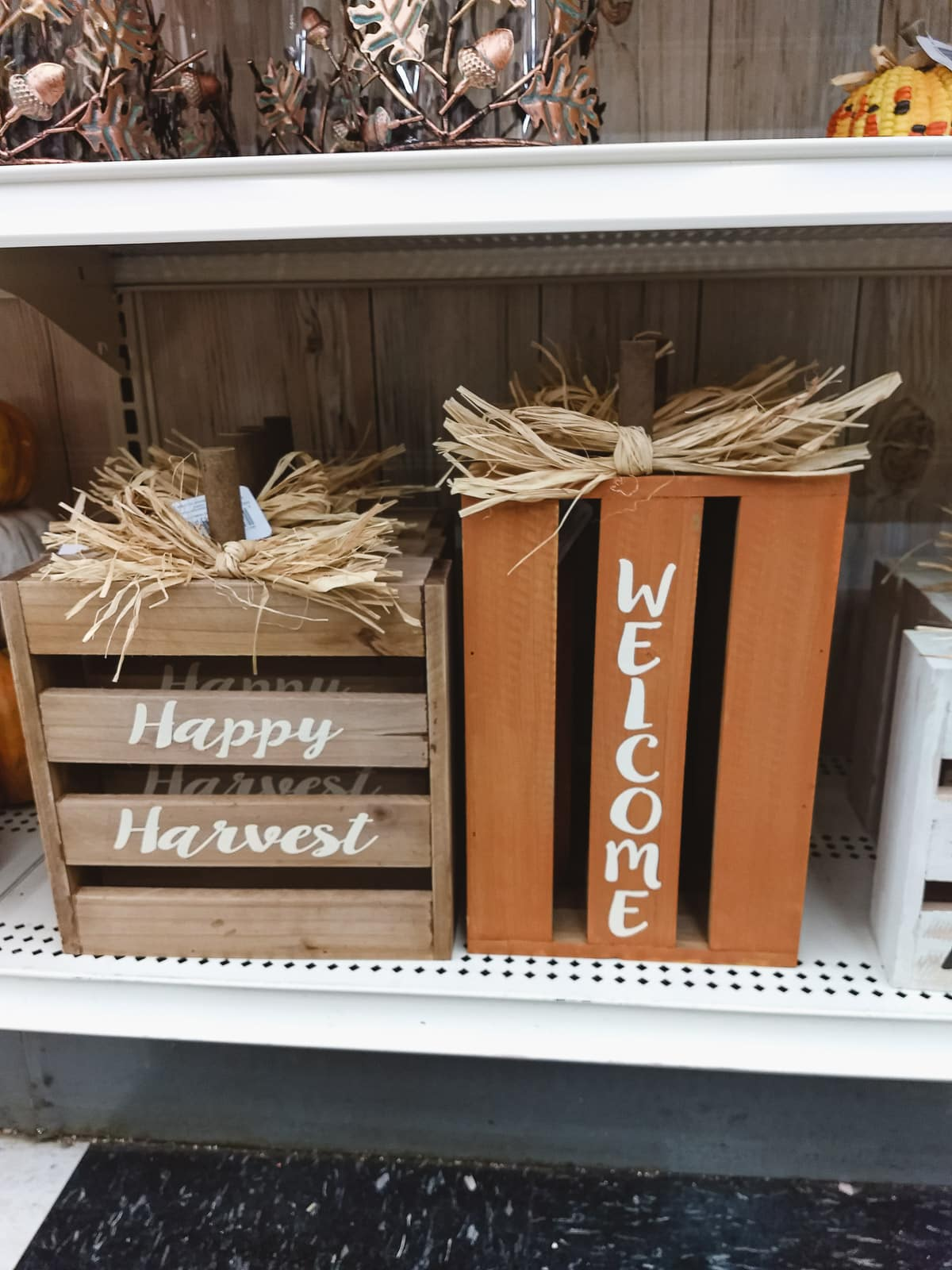 Pumpkins made from wooden crates at Michaels.