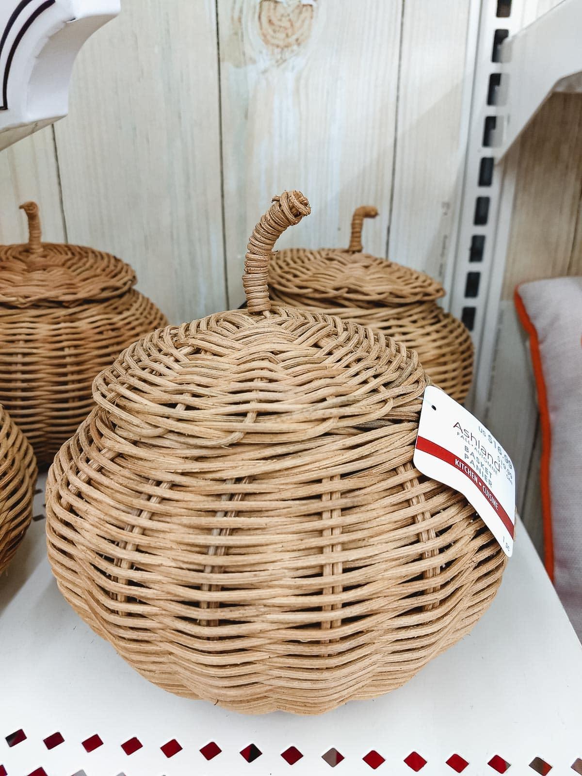 A rattan pumpkin basket.