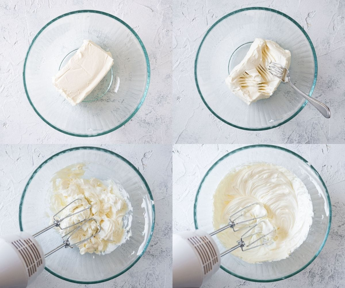 Step-by-step photos of softening and whipped cream cheese.
