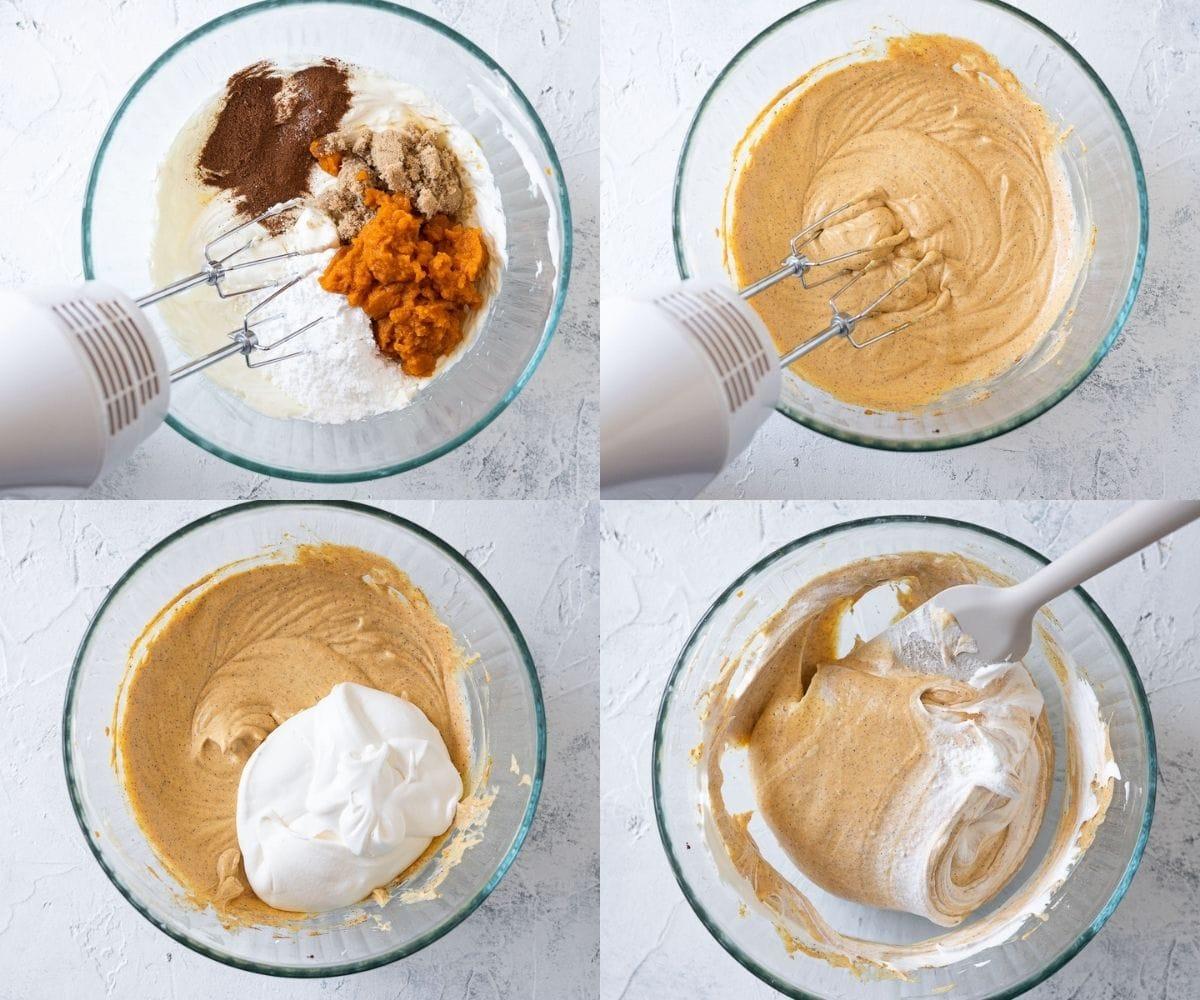 Step-by-step photos of mixing no bake cheesecake batter.