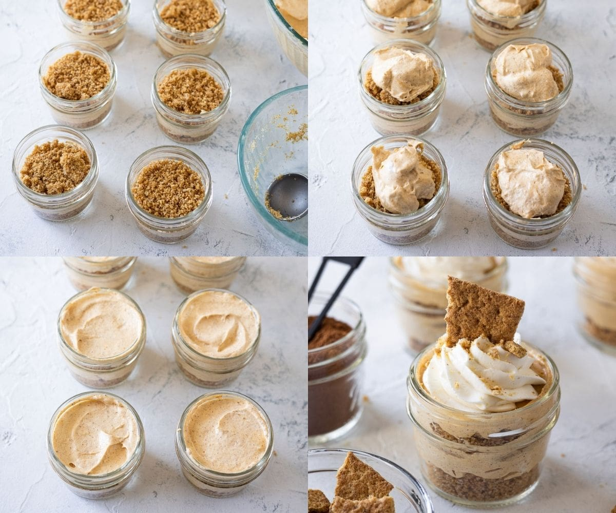 Step-by-step photos of smoothing the layers of Pumpkin Cheesecake Mason Jar Desserts.