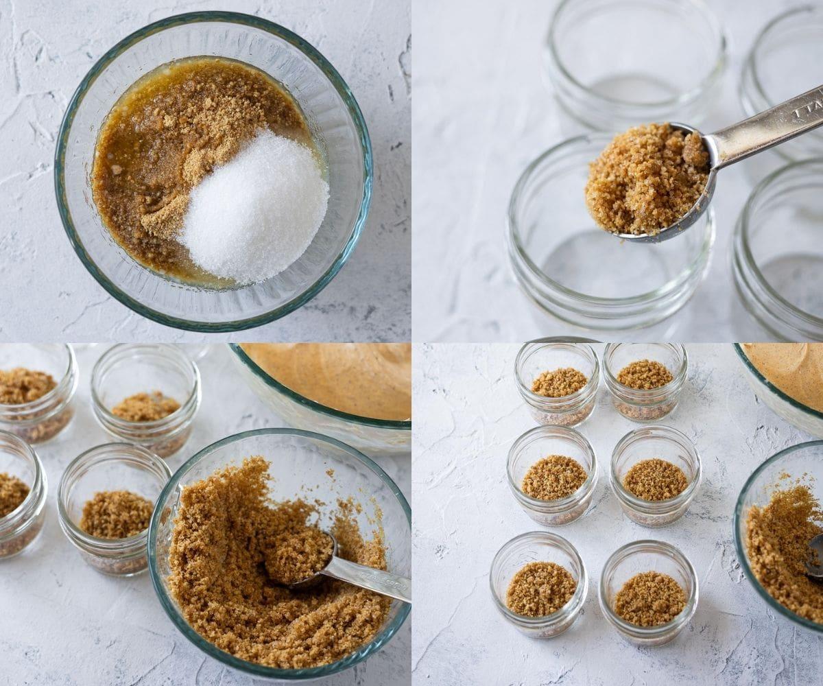 Step-by-step photos of preparing a no bake graham cracker crust for filling mason jar desserts.